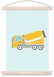 Poster kinderkamer auto cementwagen