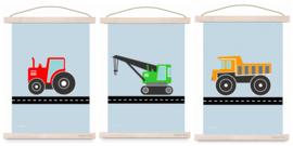 Poster set jongenskamer - kiepwagen + kraanwagen + tractor