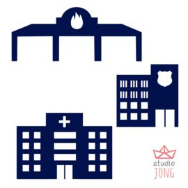 Autobaan sticker uitbreidingsset politiebureau brandweer kazerne ziekenhuis donker blauw