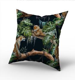 Kussen jungle kinderkamer - panter luipaard (zwart)