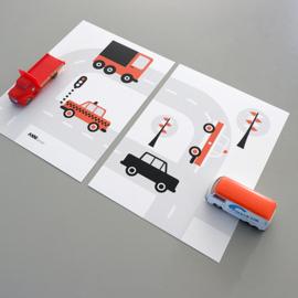 Posterset auto voertuigen  kinderkamer - terracotta