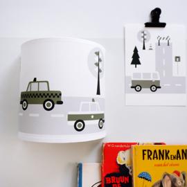 Wandlamp kinderkamer  auto voertuigen - olijf groen
