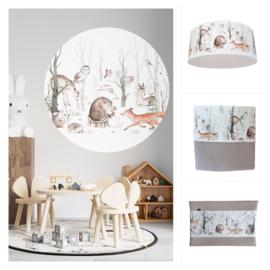 Babykamer aankleding en decoratie set XL - Bosdieren (met muurcirkel + lamp)