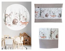 Babykamer aankleding en decoratie set - Bosdieren (met muurcirkel)