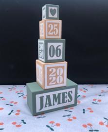 Geboorteblokken - kleur greyish green (speciale editie)