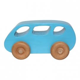 Houten speelgoed bus aquablauw