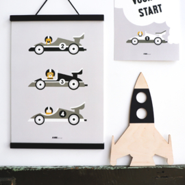 Poster Raceauto kinderkamer -  grijs