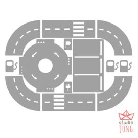 Sticker autobaan uitbreidingsset grijs