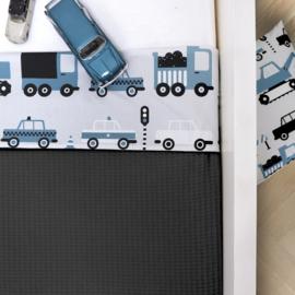 Ledikantdeken voertuigen jeansblauw - wafelstof  donkergrijs