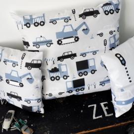 Kussen XL jongenskamer - auto voertuigen jeans blauw - inclusief binnenkussen