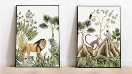 Poster set jungle kinderkamer babykamer - leeuw en apen