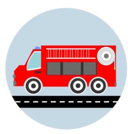 Behangcirkel kinderkamer - brandweer auto wagen