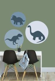 Behangcirkel set kinderkamer - dino blauw