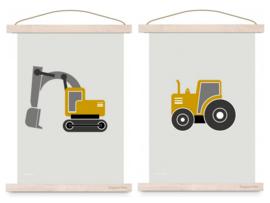 Poster set jongenskamer - graafmachine + tractor oker