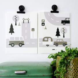 Posterset kinderkamer Caravan voertuigen - olijfgroen