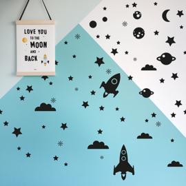 Muursticker set raket met sterren en planeten