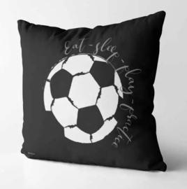 Kussen voor voetbalkamer - zwart wit