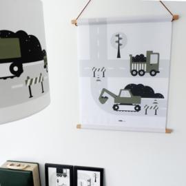 Textielposter graafmachine voertuigen kinderkamer - olijf groen