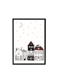 Poster Sinterklaas huisjes - daken