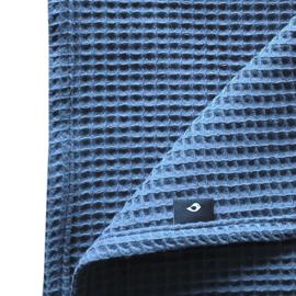 Ledikantdeken wafelstof donker oud blauw - basic