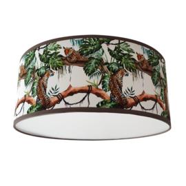 Plafondlamp jungle kamer met panters