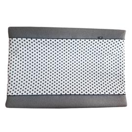 Aankleedkussenhoes wafelstof donker grijs - zwart wit stip