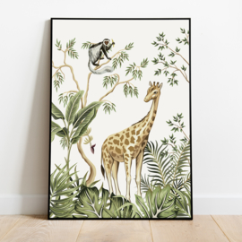 Poster jungle kinderkamer babykamer - giraffe