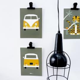 Posterset safari VW bus - olijf groen