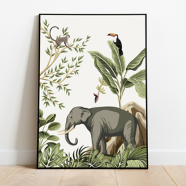 Poster jungle kinderkamer babykamer - olifant