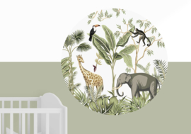 Muursticker rond - jungle kinderkamer