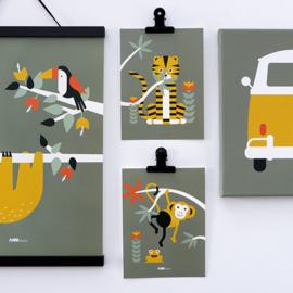 Posterset jungle kamer aap + tijger - olijf groen