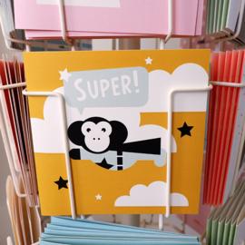 Felicitatiekaart superheld aap oker