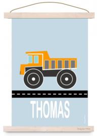 Poster jongenskamer kiepwagen met naam