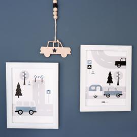 Posterset kinderkamer Caravan voertuigen - jeansblauw