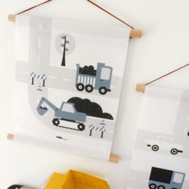 Textielposter graafmachine voertuigen kinderkamer - jeans blauw