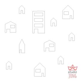 Autobaan sticker uitbreidingsset huisjes wit