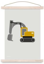 Poster kinderkamer voertuig graafmachine - oker geel