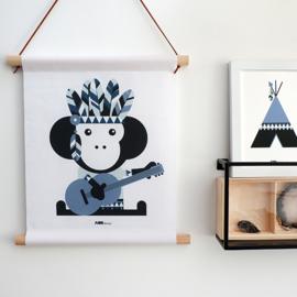 Textielposter indiaan aap kinderkamer - jeans blauw