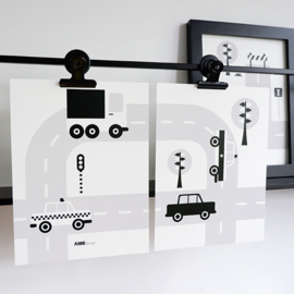 Posterset voertuigen auto  kinderkamer - zwart wit