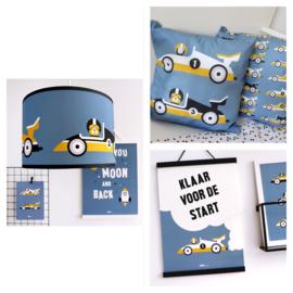 Kinderkamer aankleding en decoratie set - Raceauto jeansblauw (met lamp)