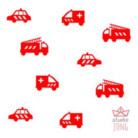 Autobaan sticker uitbreidingsset hulpdiensten voertuigen politie brandweer ambulance rood
