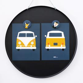 Posterset safari VW bus - donker blauw