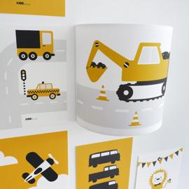 Wandlamp kinderkamer  graafmachine voertuig - oker