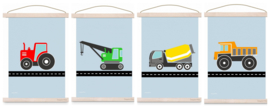 Poster set jongenskamer - 4x voertuig