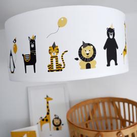 Babykamer plafondlamp dieren okergeel zwart