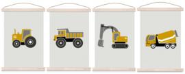 Poster set jongenskamer - 4x voertuig oker