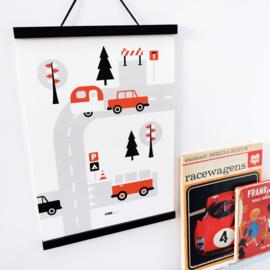 Poster kinderkamer caravan voertuigen - terracotta rood