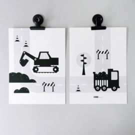 Posterset voertuigen graafmachine  kinderkamer - zwart wit