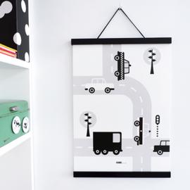 Poster auto voertuigen kinderkamer - zwart wit