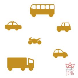 Autobaan sticker XL - voertuigen geel